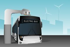 Electric bus at a stop royalty free stock photo