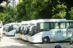 Electric bus. The electric bus stops at the bus stop. In Shenzhen, china Stock Images