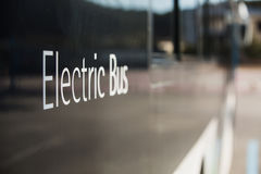 Electric bus on street. Electric vehicle bus stands at the charger Stock Photos