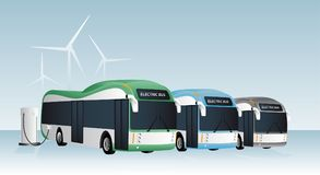 Electric buses are charged at the charging stations. royalty free illustration