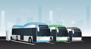 Electric buses in a row royalty free illustration