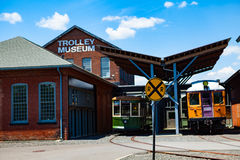 Electric City Trolley Museum Terminal. Scranton, PA - June 20, 2013: The Electric City Trolley Museum displays and operates restored trolleys on royalty free stock photos