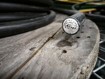 Free Electric Cabel On A Wooden Drum Close Up Royalty Free Stock Photos - 216319718
