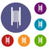 Electric cable in coil icons set Stock Image