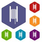 Electric cable in coil icons set. Rhombus in different colors isolated on white background Stock Photo