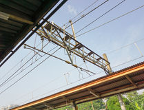 Electric cable on commuter line rail station photo taken in depok jakarta indonesia. Java stock photo