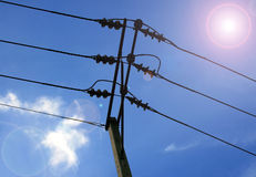 Electric cable on concrete pole Royalty Free Stock Photo