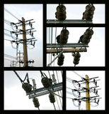 Electric cable on concrete pole Royalty Free Stock Images
