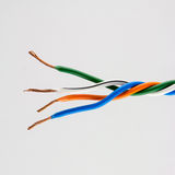 Electric cable ends,  on white. Colorful bundle of elect Stock Photo