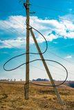 Electric cable in the field stock images