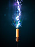 Electric cable with glowing electricity lightning Royalty Free Stock Photo