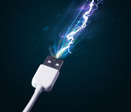 Electric cable with glowing electricity lightning Stock Image