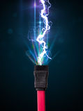 Electric cable with glowing electricity lightning Stock Images