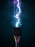Electric cable with glowing electricity lightning Stock Photo