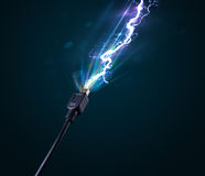 Electric cable with glowing electricity lightning Royalty Free Stock Photos