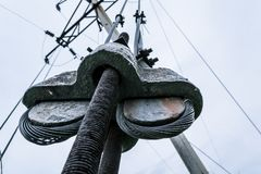 Electric cable. Pillar Macro shooting stock image