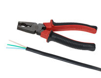 ELECTRIC CABLE and pliers Stock Image