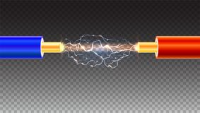 Electric cable with sparks on transparent background. Copper electrical cable in colored insulation. And electrical arc between the wires. Backdrop for vector illustration