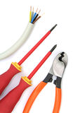Electric cable with tools on a white background Royalty Free Stock Photo