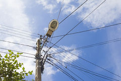 Electric cable and wires on electric pole Electricity Stock Photography
