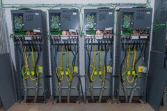 Free Electric Cable Wires Of Fuse Switch Box. Cabling Connection Of High Voltage Power Electric Line In Industrial Stock Photos - 193288813