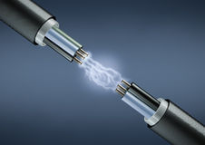 Electric cables. Rendering of electric cables on dark background with lightings Royalty Free Stock Images