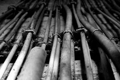 Electric cables. Close up of electric cables stock photos