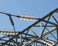 electric cables in aluminum of high voltage to transport the ele Royalty Free Stock Image