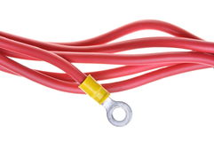 Electric cables with insulated ring terminal lug Royalty Free Stock Images