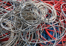 Electric cables of many colours for the recycling of copper Royalty Free Stock Photo