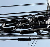 Electric cables mess Stock Image