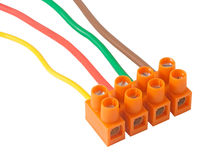 Electric cables with terminals Royalty Free Stock Image