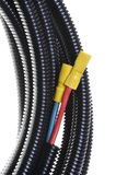 Electric cables with terminals in protective corrugated pipe Royalty Free Stock Images