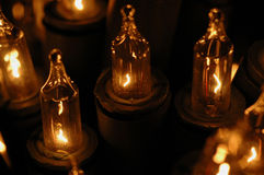 Electric candles. Close-up of electric christmas-tree candles royalty free stock photography
