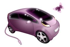 Electric car. Pink electric car on white background Royalty Free Illustration
