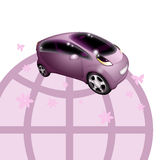 Electric car. Pink electric car and globe on white background Vector Illustration