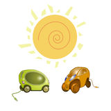 Electric car. The two electric cars  on white background Royalty Free Illustration