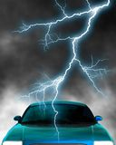 Electric car. A 3d rendered car top with lightning stroke. Included several clipping path: whole car, car paint and for transparent parts. With these clipping royalty free illustration