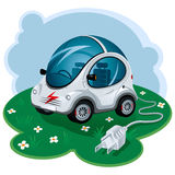 Electric Car. Green Energy Car. Vector Illustration Royalty Free Stock Image