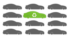Electric car. Many grey cars with a green car in the middle. The grey color represents pollution, while the green one mean zero pollution (3d render Stock Illustration