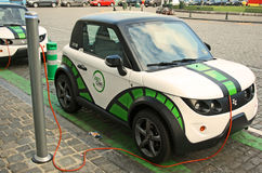 Electric car. Electric city car charging. Brussels, Belgium Stock Images
