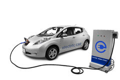 Electric Car. An electrical car in charging position connected to an electric power source royalty free stock images
