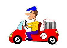 Electric car. This illustration depicts a funny man driving an electric car Stock Photo