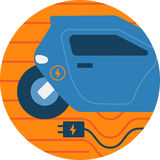 Electric Car Abstract Icon Illustration. Royalty Free Stock Photography