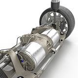 Electric car back suspension with new tire on white. 3D illustration Royalty Free Stock Images