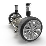 Electric car back suspension with new tire on white. 3D illustration Royalty Free Stock Photo