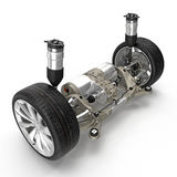 Electric car back suspension with new tire on white. 3D illustration Stock Images