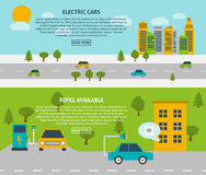 Electric Car Banner Set. Electric car and refill available or charging station flat color horizontal banner set  vector illustration Stock Photo