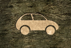 Electric car on the bark Stock Photos