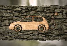 Electric car on the bark Stock Images